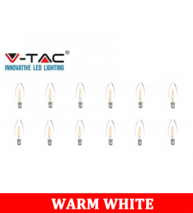 V-TAC 4w Candle Filament Bulb -Clear Cover Colour Code: 3000k B15 12pcs/Pack