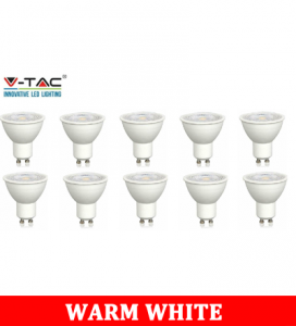 V-Tac Dimmable LED GU10 3000k (10 Pack)