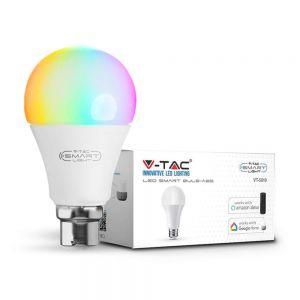 V-TAC Smart 9W B22 Smart WiFi LED Bulb, RGBW