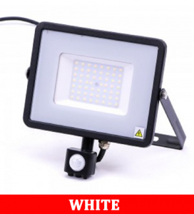 V-TAC -50-S 50W SMD Pir Sensor Floodlight With Samsung Chip Colorcode:6400K BLACK BODY GREY GLASS