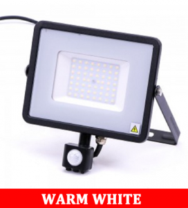 V-TAC -50-S 50W SMD Pir Sensor Floodlight With Samsung Chip Colorcode:3000K BLACK BODY GREY GLASS