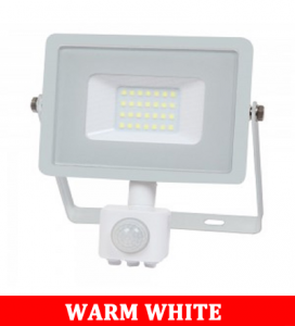 V-TAC -50-S 50W SMD Pir Sensor Floodlight With Samsung Chip Colorcode:3000K WHITE BODY WHITE GLASS